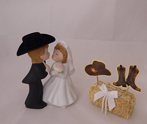 Wedding Western Reception Party Cowboy Boots Kissing Couple cake topper