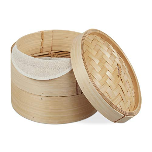 Relaxdays Bambus Dampfgarer, asiatischer Dämpfkorb mit 2 Etagen, für Dim Sum, Reis, Dampfgarer Einsatz, Ø 20,5 cm, natur