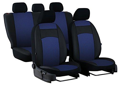 POKTER-ROYAL Paßgenaue Sitzbezüge ROYAL für GOLF VII Sportsvan ab 2013. Stoff mit Kunstleder. In diesem Angebot BLAU.
