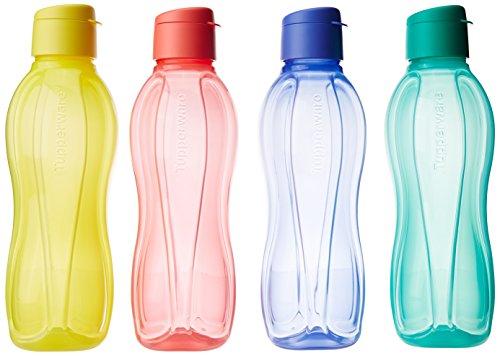 Tupperware Fliptop - Juego de 4 botellas de 1 litro, multicolor