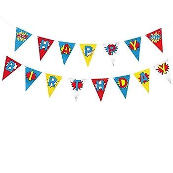 TUPARKA Superhero Happy Birthday Banner ,Superhero Theme Decoration Supplies Pennant for Kid Children