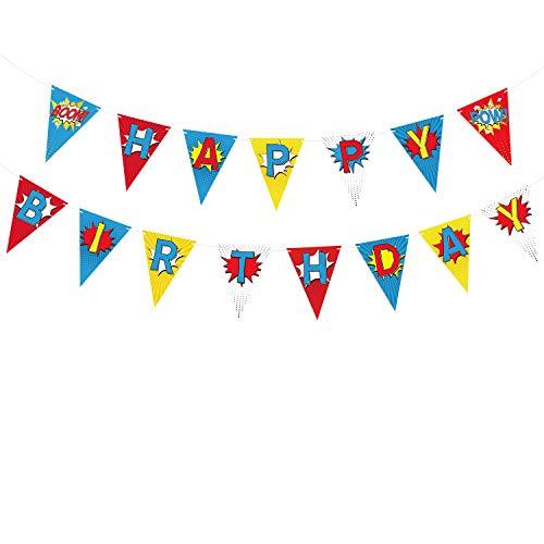 TUPARKA Superheld Alles Gute zum Geburtstag Banner Superhero Thema Dekoration Supplies Wimpel für Kind-Kinder