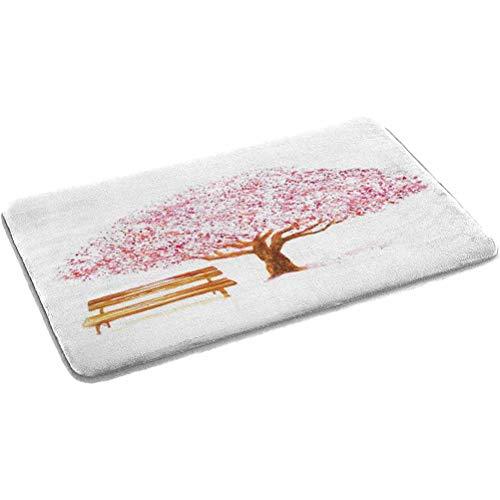 Ahuimin Nature Alfombra de baño antideslizante moderna alfombra de baño acuarela floreciente cerezo en el parque con banco de madera floral una alfombra de baño para área de baño 61 x 88 cm