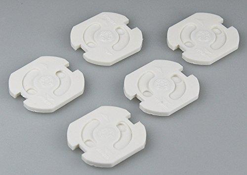 50 Stk. Kinderschutz für Steckdosen Steckdosenschutz Kindersicherung weiß mit Drehmechanik und Klebeband