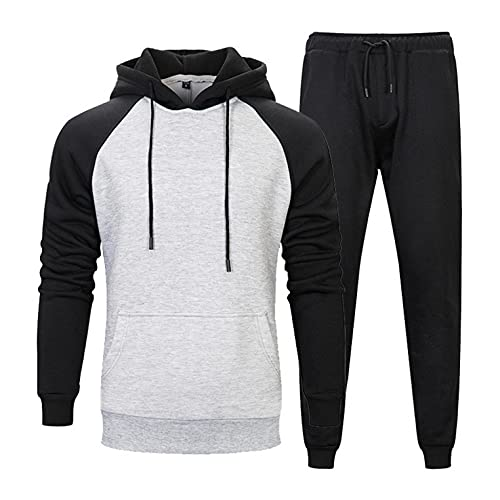 Men's Tracksuit 2 Piece Hooded Athletic Sweatsuits Patchwork Pullover Sweatsuits Running Jogging Sport Suit Set Activewear