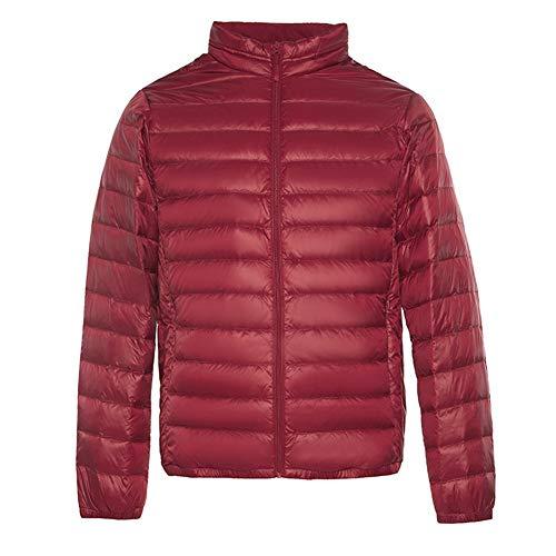 Leichte Daunenjacke Für Herren, Stehkragen Plus Warme Samtsakko, Lässige Kurzjacke, Geeignet Für Outdoor/Shopping/Büro, 5 Farben (Color : Red, Size : XXX-Large)