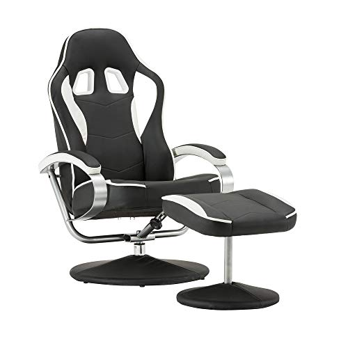 MCombo Relaxsessel Gaming Racing Sessel Fernsehsessel kippbar verstellbar Dreh mit Fußhocker Kunstleder Schwarzweiß