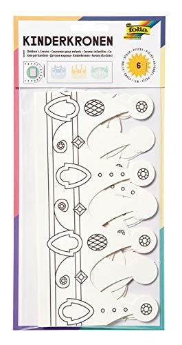 folia 23309 - Kinderkronen, aus Pappe, in 3 Formen sortiert, 6 Stück, weiß, zum selbst Bemalen und Gestalten, für Kinder, Jungen und Mädchen, ideal für Kindergeburtstage und Partys