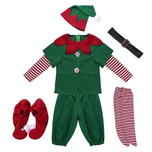 DDPD Navidad bolas adornos bolas de Navidad bolas de Halloween Christma Santa Claus Elf disfraz niños adultos familia coincidir ropa de Año Nuevo Niñas Niños Santa Claus Cosplay Sombrero
