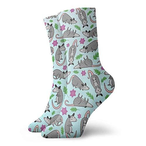 Opossum Socken mit Muster, klassisch, Freizeit, Sport, kurze Socken, 30 cm, geeignet für Männer und Frauen