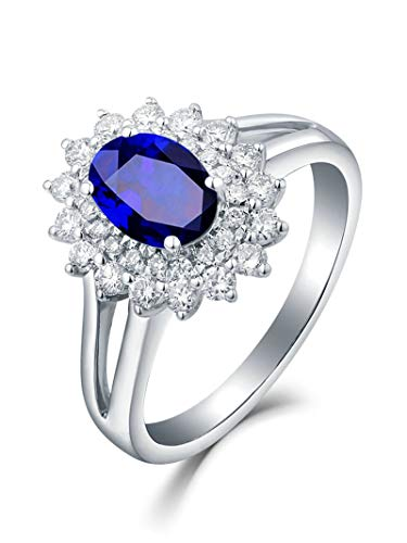 Adisaer Alliance en Or Femme 18K Or Blanc Forme de Fleur et Saphir Ovale Bague Bleu Argent Femmes Saphir Diamant Taille 64
