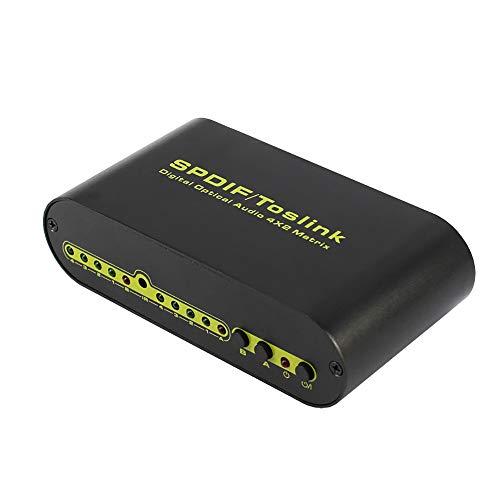 ZYLFN Digitaler optischer Audio 4 x 2-Matrix, optischer 4-in-2-out- und L/R-Audioausgang Digitaler Audio-SPDIF-Splitter mit Fernbedienungsnetzteil