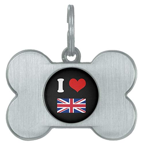 Stainless Steel Pet ID Tags, I Heart Love UK British Union Jack Flag Pet Name Tag, Dog Tags, Cat Tags, Bone Shaped ID Tag for Dogs and Cat