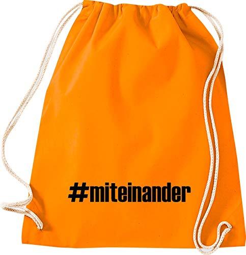 Shirtstown - Bolsa de deporte para el día de Hashtag para la crisis, la cohesión, para juntos, para emergencias, sociales, agradecimiento, gracias, bolsa de deporte, color naranja, tamaño 37 cm x 46 cm