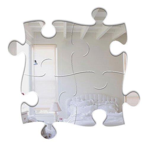 Mungai Mirrors - Specchio in vetro acrilico a forma di puzzle, 27 cm, argento