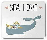 夏のマウスパッド、海の花の水中動物を身に着けているハートクジラのテキスト、標準サイズの長方形の滑り止めラバーマウスパッド、スレートブルーホワイトブラック