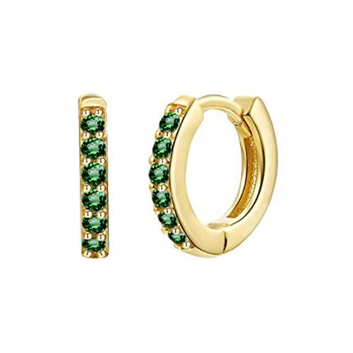 Pendientes Mujer Pendientes De Aro De Circonita De Cristal Verde Negro De Plata De Ley 925 Pendientes De Plata Dorada para Mujer-Gold_Green