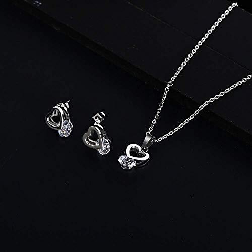 Y-longhair Accesorios personalizados, collares, corazón de la manera con el conjunto de joyas de plata Gargantilla de piedra de oro de acero inoxidable minimalista delicada del corazón for las mujeres