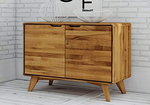 MASSIVMOEBEL24.DE Kommode Wildeiche 90x40x63 Natur geölt MALMÖ #16 modern massiv skandinavischer Stil