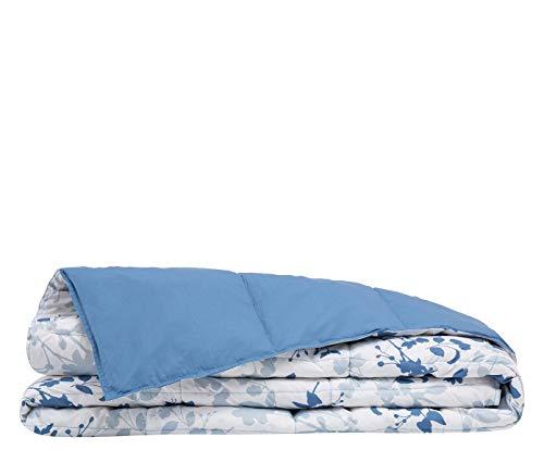 Casatex Edredón/Relleno nórdico Natural de plumón de oca para Cama Matrimonial - Estampado Floral Azul de Un Lado y Unicolor Azul del Otro Lado