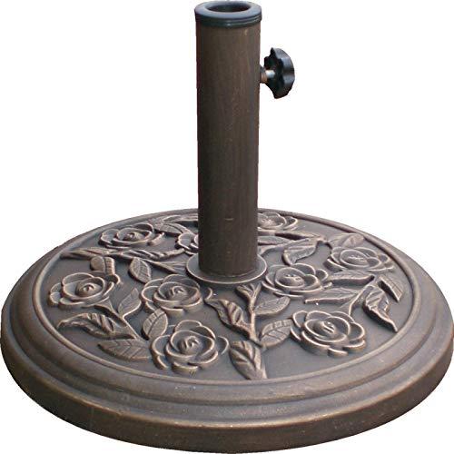 garden mile Heavy Duty 9kg Garden Parasol Base Umbrella Stand Round Floral Design Bronze Finish Cast Iron Effect. (9kg Cast Iron Bronze Effect (floral))
