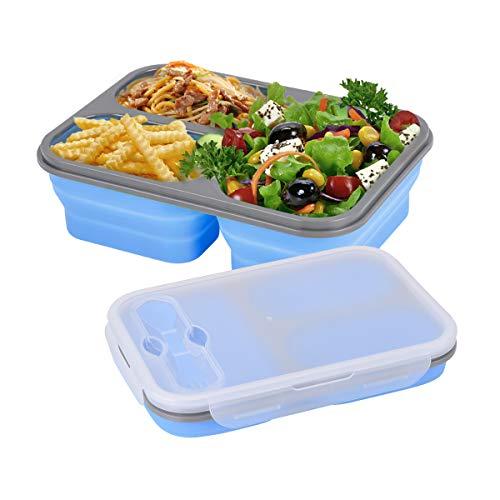 Hivexagon Recipiente Plegable de Silicona para Almacenamiento de Alimentos, Contenedor para Almuerzo Bento 2 Compartimentos con Cuchara Tenedor Libre de BPA para Adultos y Niños (1 Pieza)