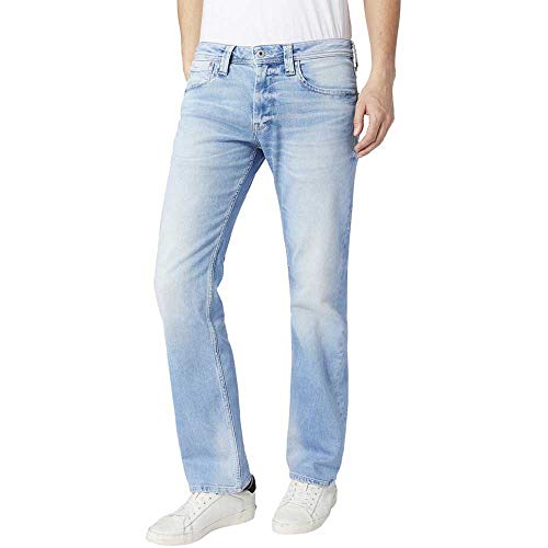 Pepe Jeans Kingston Zip Jeans Vaqueros, Azul (Bleach 000), 28W / 32L para Hombre