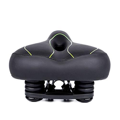 ZXPP Asiento Bicicleta PVC Ergonómico Transpirable, Suave, Grande Y Cómodo Cojín Unisex Doble Amortiguador De Choques De Montaña Sillín De Bicicleta Sillín (Color : Verde Negro)