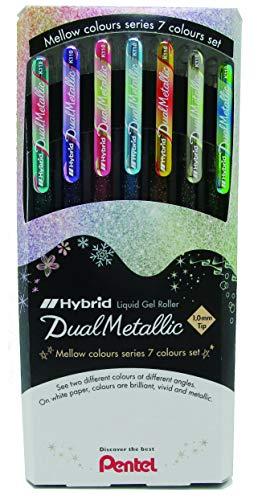Pentel Hybrid Dual Metallic - Bolsa de 7 rollers tinta gel metálico pastel K110