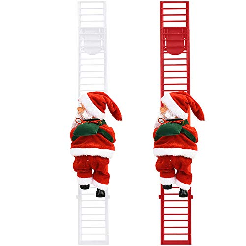 2PACK Santa Climbing Ladder Electric Santa Claus Climbing Rope Ladder Christmas Super Climbing Santa Plush Doll Toy Hanging Ornament Tree Indoor Outdoor Holiday Party Home Door Wall Decoration (A)