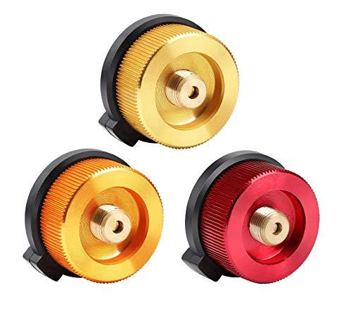 Coolty 3 Stück Camping Gasherd Adapter, Gaskartuschen Adapter für Butan-Kanister zum Einschrauben der Gaskartusche (Gold,Orange und Rot)