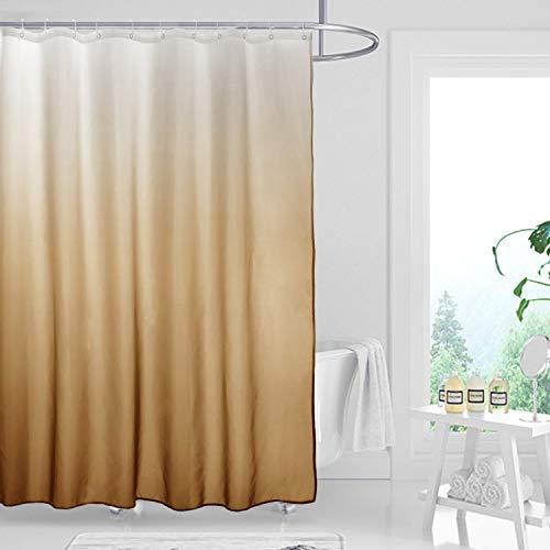 Stoff Ombre Duschvorhang Set für Badezimmer mit 12 Haken Farbverlauf Design Wasserdicht Dekorative Badezimmer Vorhang 70 * 78 Zoll Dunkelbraun