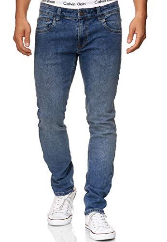 Indicode Herren Texas Jeanshose aus Baumwoll-Mischung m. Stretch-Anteil | Herrenjeans Denim Stretch Jeans Hose Herrenhose Regular fit Men Washed Out Stretchjeans f. Männer Blue 34/32