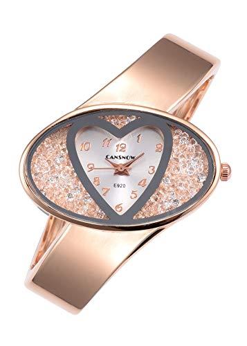 JSDDE Uhren, Damenuhr Elegant Herz Strassstein Dial Armreifuhr Spangenuhren analoge Uhren Quarzuhr Kleideruhr für Frauen(Rosegold-Silber)