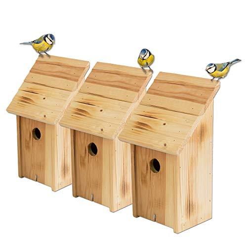 BigDean Nistkästen 3X Schrägdach geflammt Vogelhaus Wildvögelhaus 18 x 12 x 33,5 cm Einflugloch 33 mm Vogelhäuschen Nistkasten Massiv Holz
