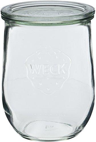 Weck Einkochgläser-Set - Einkochglas 4 Stück a 1 Liter - Einweckglas-Set mit Gummiring 5 Stück - Einwegglas mit Klammern 8 Stück - Einwegglaeser-Set mit Deckel - Sturzglas spülmaschinengeeignet