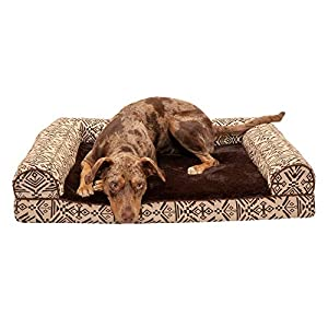 Furhaven Pet Dog Bed – Memory Foam Plush Kilim Southwest Home Decor Traditional Sofa-Style Living Room Couch Pet Bed with Removable Cover for Dogs and Cats, Desert Brown, Large