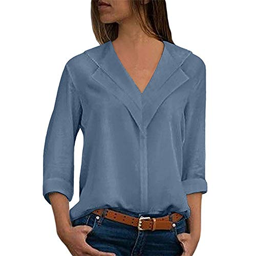 Aiserkly Damen Chiffon festes Mittellange Ärmel T-Shirt der Art- und Weisefrauen Büro Plain Rollhülsen Blusen Oberseiten Tops Himmelblau L