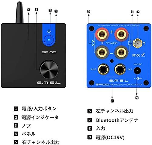 『S.M.S.L SA100 パワーアンプ Bluetooth5.0 50Wx2 高低音調整可能 TPA3116D2 AUX/Bluetooth入力』の2枚目の画像