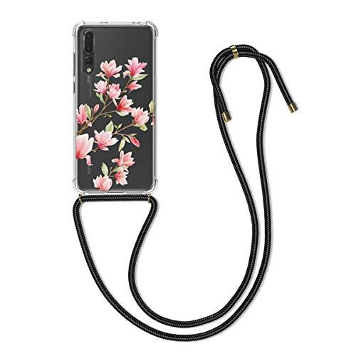 kwmobile Hülle kompatibel mit Huawei P20 Pro - Silikon Handyhülle mit Kette - Rosa Weiß Transparent Magnolien