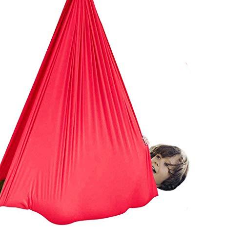 LHHL Yoga-Hängematte, Therapieschaukel, elastische Hängeschaukel für Kinder, drinnen (Farbe: Rot, Größe: 150 x 280 cm)