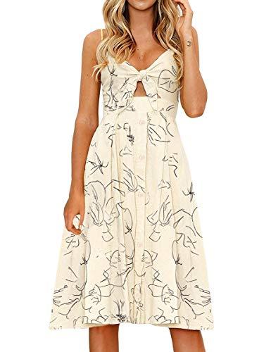 FANCYINN Kleid Damen Sommer Knielang Dekoltee V-Ausschnitt Sommerkleid Midi Träger Rückenfreies A-Linie Kleider Strandkleider Beige