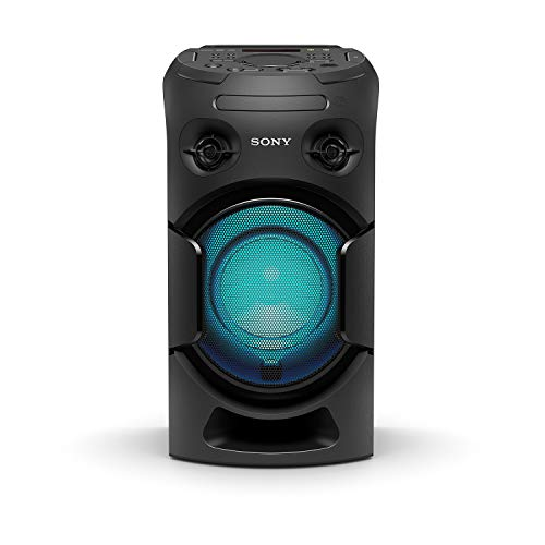Sony MHC-V21D High Power Portable Party Speaker with Bluetooth Connectivity (Karaoke & Guitar Input, Speaker Light, Bluetooth & NFC, DVD Playback) - Black
