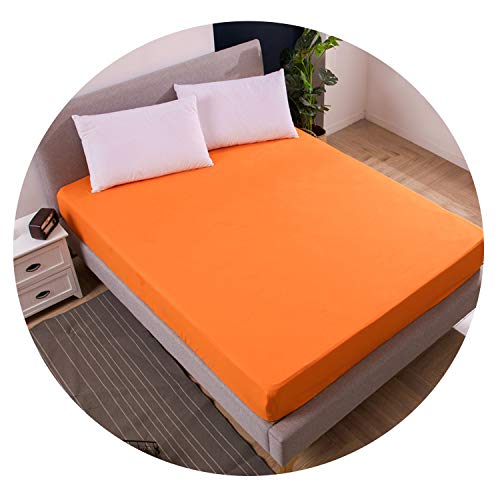 Solid color bed mattress waterproof cover Mattress water sheet separate bedding with elastic,Orange,180X200X30cm
