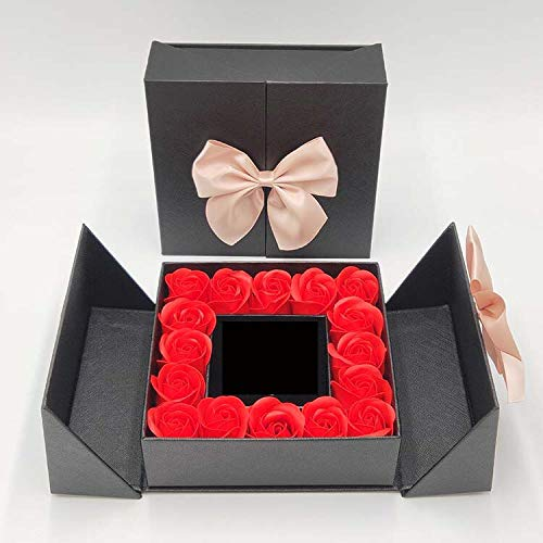 PANQQ 2021 New Rose Space 16 Roses Box Artificial Flowers Necklace Ring Jewellery Box Girlfriend Birthday Wedding Mother's Day Gifts (Red No Jewelry 1)