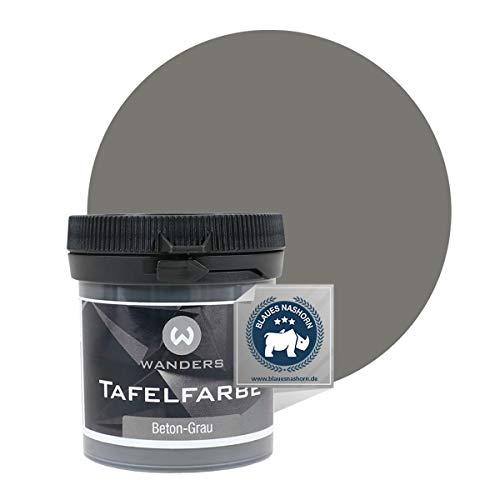 Wanders24® Tafelfarbe (80ml, Beton-Grau) Blackboard Paint - Tafellack - abwischbare Wandfarbe - in 20 Farbtönen erhältlich - Made in Germany