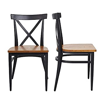2 Set Dining Side Chairs Natural Wooden Seat and Metal Legs Simple Dining Restaurant Chairs for Kitchen Cafe Saloon Ergonomic Design,Black