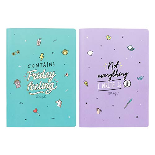 Mr Wonderful WOA09716EM Set of Two A4 notebooks - Contains Friday Feeling, Multicolore, Taille Unique