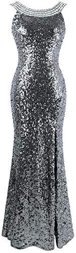 Angel-fashions Da Donna Ritagliare Abiti da Ballo Perline Senza Schienale XLarge Light Gray