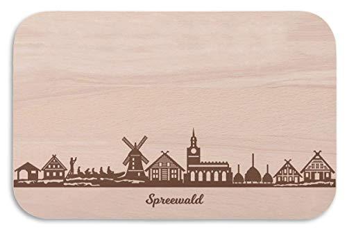 Frühstücksbrettchen Spreewald mit Skyline Gravur - Brotzeitbrett und Geschenk für Spreewald Stadtverliebte und Fans - perfekt auch als Souvenir